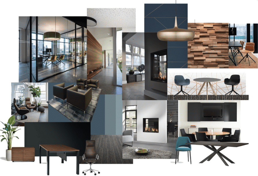 collage inrichting kantoor